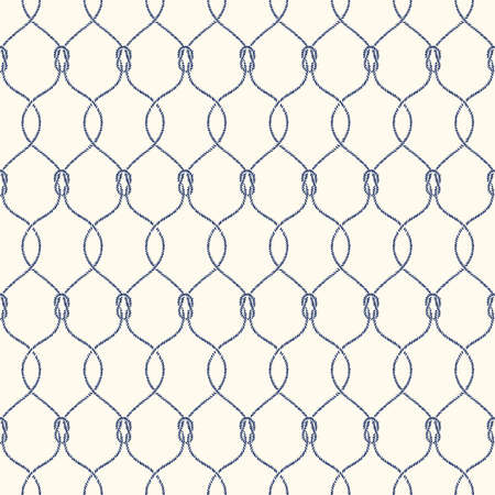 Small Retro Style Nautical Hand-Drawn Rope Intertwined Ogee Vector Seamless Pattern with Reef Knots. Blue Marine Background. Sailing Objects.