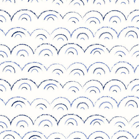 Whimsical and Cute Nautical Hand-Drawn with Crayons, Abstract Sea Waves Vector Seamless Pattern. Monochrome Texture Geo background. Sea, Ocean Objects Drawings