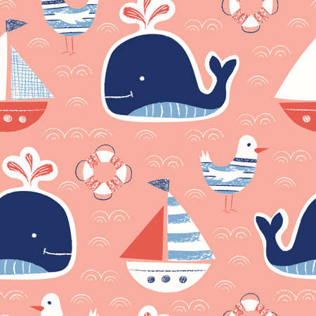 Whimsical Cute, Hand-Drawn with Crayons, Whale, Ship, Seagull, Lifebuoy Vector Seamless Pattern. Nautical Background. Sea, Ocean Creatures Drawings