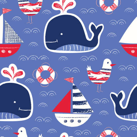 Whimsical Cute, Hand-Drawn with Crayons, Whale, Ship, Seagull, Lifebuoy Vector Seamless Pattern on Blue Background. Nautical Sea, Ocean Creatures Drawings