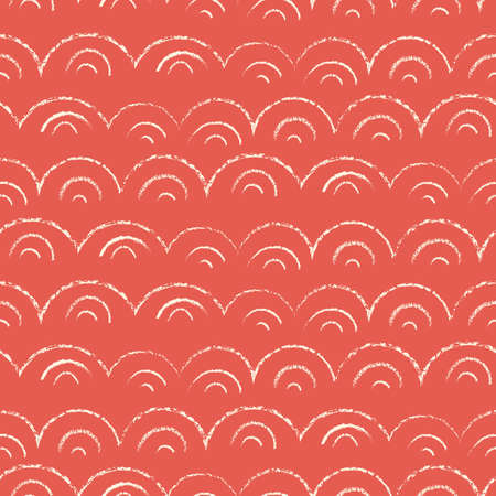 Whimsical and Cute Nautical Hand-Drawn with Crayons, Abstract Sea Waves Vector Seamless Pattern. Red Monochrome Texture Geo background. Sea, Ocean Objects Drawings