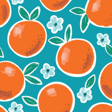 Hand Painted Colorful Abstract Oranges, Flowers and Leaves on Blue Background. Summer Fruits Vector Seamless Pattern