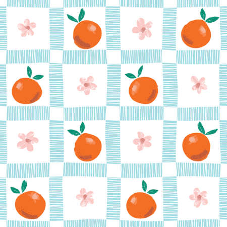 Hand Painted Colorful Abstract Oranges, Flowers and Leaves on Blue and White Plaid Background. Summer Citrus Fruits Vector Seamless Pattern. Fresh and Juicy Print. Stock Illustratie