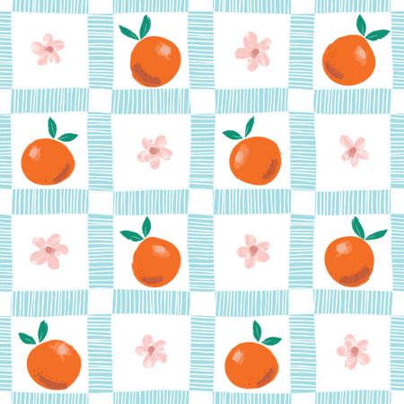 Handgemalte bunte abstrakte Orangen, Blumen und Blätter auf blauem und weißem kariertem Hintergrund. Sommer Zitrusfrüchte Vektor nahtlose Muster. Frischer und saftiger Druck. Vektorgrafik