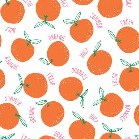 Whimsical colorful hand-drawn doodle oranges and words vector seamless pattern background. Colorful Summer Fruits