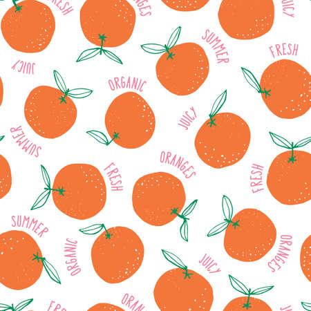 Wunderliche bunte handgezeichnete Doodle-Orangen und Wörter vector nahtlose Hintergrundmuster. Bunte Sommerfrüchte Vektorgrafik