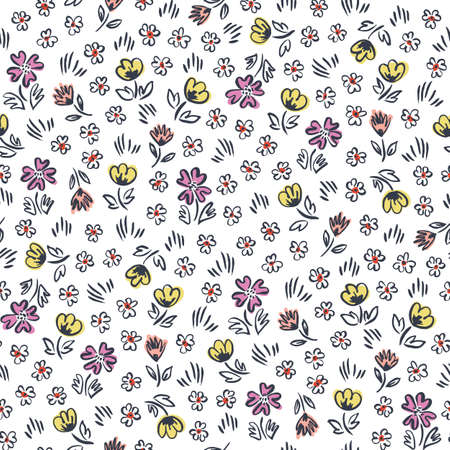 Cute ditsy abstract hand-drawn flowers on white background vector seamless pattern. Whimsical easter floral print.