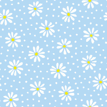 Minimal cute hand-painted daisies and dots on sky blue background vector seamless patters. Spring summer floral print