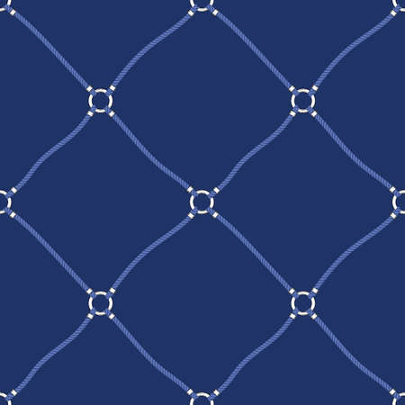 Blue Nautical Ropes and White Chain Links Diagonal Diamond on Navy Background Vector Seamless Pattern.Trendy Net Print. Cords and Chains Fashion Print. Sea, Ocean Elements.
