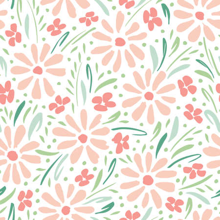 Pastel colored hand-painted daisies on white background vector seamless pattern. Delicate spring summer floral print