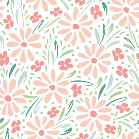 Pastellfarbene handgemalte Gänseblümchen auf weißem Hintergrundvektor nahtloses Muster. Zarter Frühlings-Sommer-Blumendruck