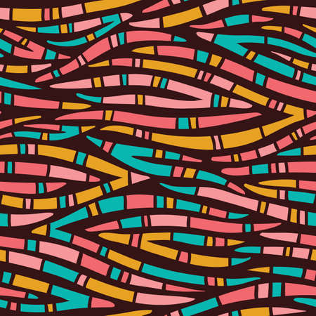 Bright Patterned Tribal Abstract Hand Drawn Wavy Vector Seamless Pattern. Zebra Animal Skin. Colorful Trendy Print