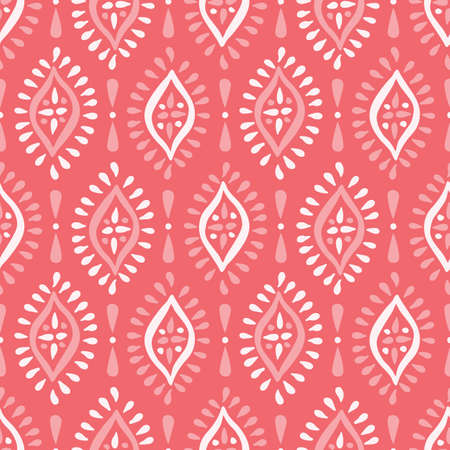 Monochrome Coral Boho Hand drawn Diamonds Vector Seamless Pattern. White and Pink Elegant Ethnic Traditional Background 일러스트