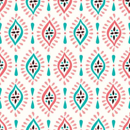 다채로운 Boho 손으로 그린 다이아몬드 벡터 완벽 한 패턴입니다. 아쿠아와 핑크 우아한 민족 전통 배경