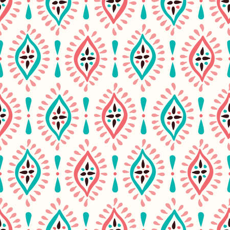 Colorful Boho Hand drawn Diamonds Vector Seamless Pattern. Aqua and Pink Elegant Ethnic Traditional Background