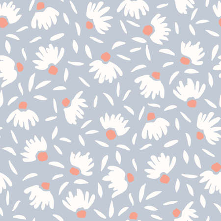 Pastel Colored Loosely Hand Drawn Feminine Elegant Cone Flowers Vector Seamless Pattern. Spring-Summer Floral Print Ilustração