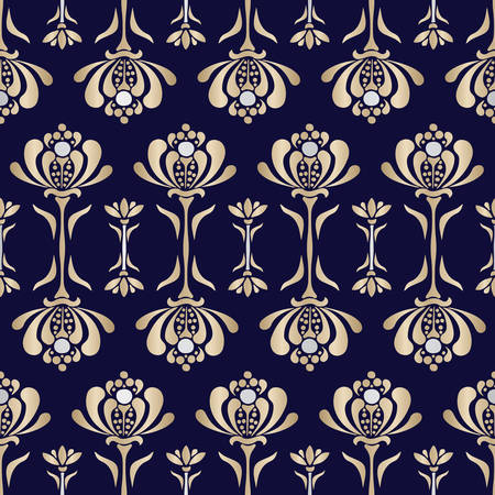 Gold Lacey Baroque Style Stylized Water Lilies Vector Seamless Pattern. Floral Luxurious Background