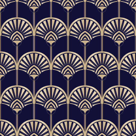 Golden Art Deco Abstract Palms on Dark Blue Vector Seamless Pattern. Abstract Egyptian Geometric Print