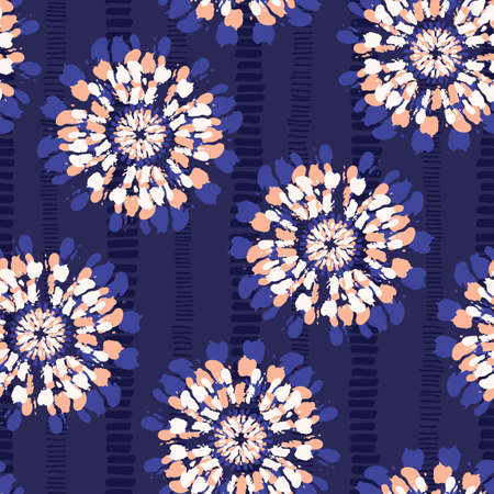 Boho Coral Tie-Dye Shibori Mirrored Sunburst Flowers on Indigo Striped Background Vector Seamless Pattern