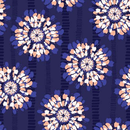 Boho Coral Tie-Dye Shibori Mirrored Sunburst Flowers on Indigo Striped Background Vector Seamless Pattern