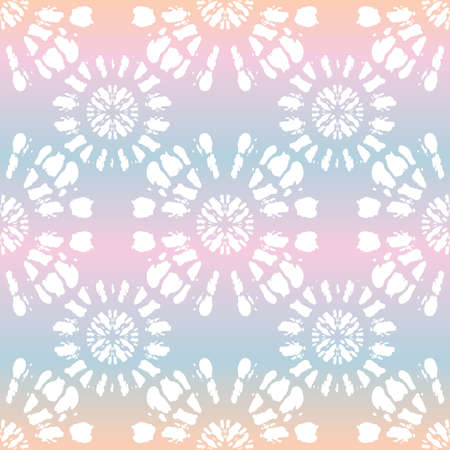 Boho White Tie-Dye Shibori Mirrored Sunburst Mandala on Holographic Background Vector Seamless Pattern