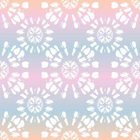 Boho White Tie-Dye Shibori Mirrored Sunburst Mandala on Holographic Background Vector Seamless Pattern