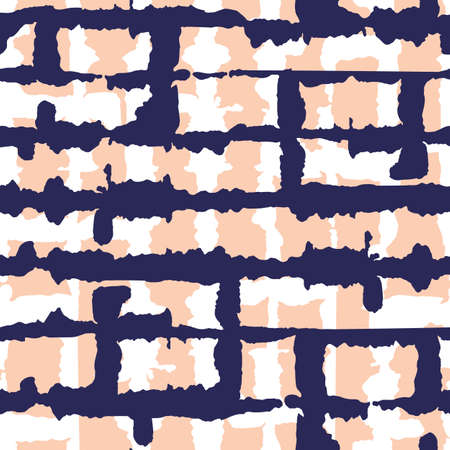 Abstract Horizontal Dark Blue Tie-Dye Shibori Stripes Backrgound Vector Seamless Pattern