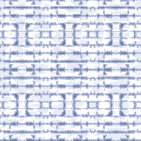 Abstract Horizontal Mirrored Indigo Tie-Dye Shibori Stripes on White Backrgound Vector Seamless Pattern