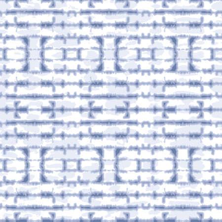 Abstract Horizontal Mirrored Indigo Tie-Dye Shibori Stripes on White Backrgound Vector Seamless Pattern