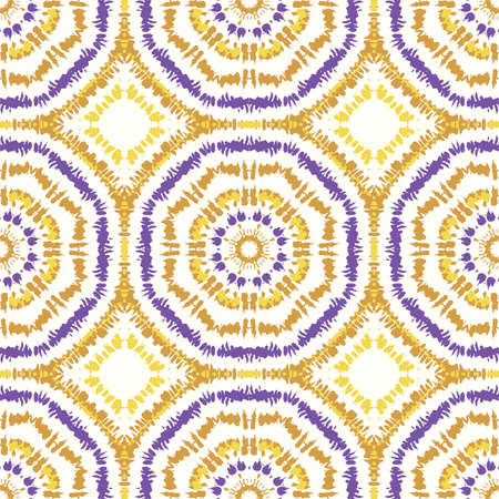 Bright Purple and Mustard Tie-Dye Shibori Sunburst Kaleidoscope Mirrored Hexagon Mandala Vector Seamless Pattern