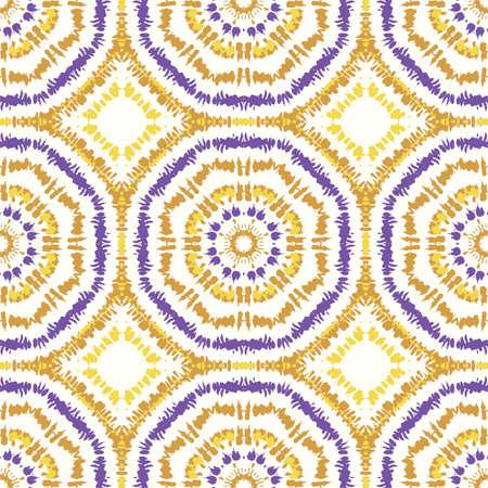 Bright Purple and Mustard Tie-Dye Shibori Sunburst Kaleidoscope Mirrored Hexagon Mandala Vector Seamless Pattern