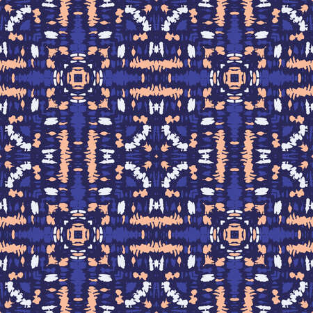 Bright Colorful Tie Dye Shibori Kaleidoscope Mirrored Square Tile on Dark Indigo Background Vector Seamless Pattern