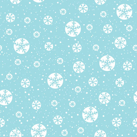 Hand drawn abstract white Christmas snowflakes on ice blue background vector seamless pattern. Winter Holiday Nordic