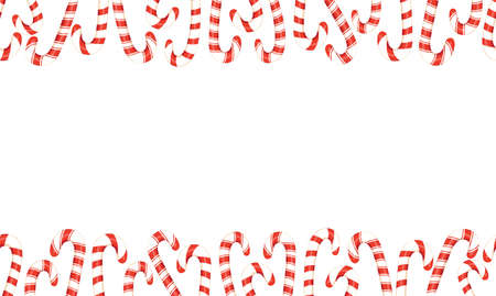 Red and White Holiday Christmas and New Year Candy Canes Horizontal Top Bottom Vector Seamless Border Ilustração