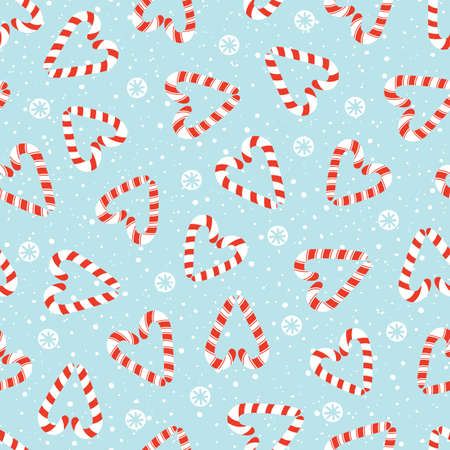 Colorful Hand Drawn Holiday Christmas and New Year Candy Cane Hearts and White Snowflakes Vector Seamless Pattern