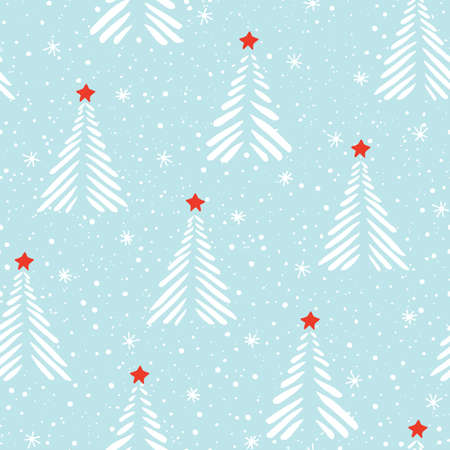 Hand drawn linocut abstract Christmas trees, snow, stars vector seamless pattern background. Winter Holiday Scandinavian Standard-Bild - 130160685