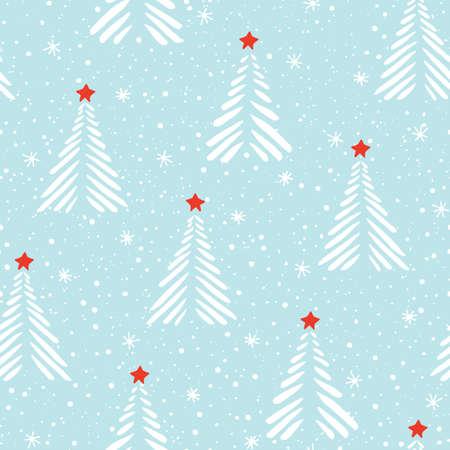 Hand drawn linocut abstract Christmas trees, snow, stars vector seamless pattern background. Winter Holiday Scandinavian Illustration