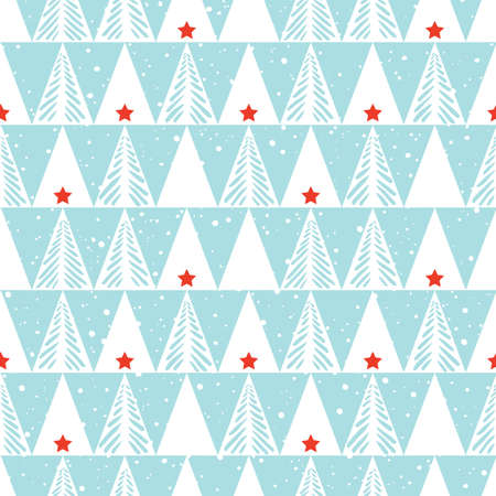Hand drawn abstract Christmas trees, snow, triangles vector seamless pattern background. Winter Holiday Scandinavian Illustration
