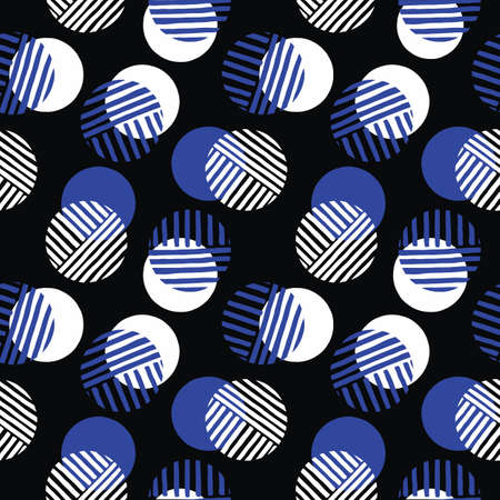 Exaggerated Retro Geo Dots Vector Seamless Pattern. Modern Abstract White and Blue Circles on Black Background
