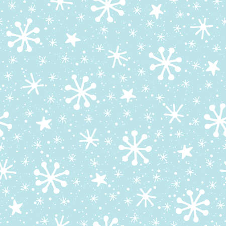 Hand drawn abstract white Christmas snowflakes on ice blue background vector seamless pattern. Winter Holidays