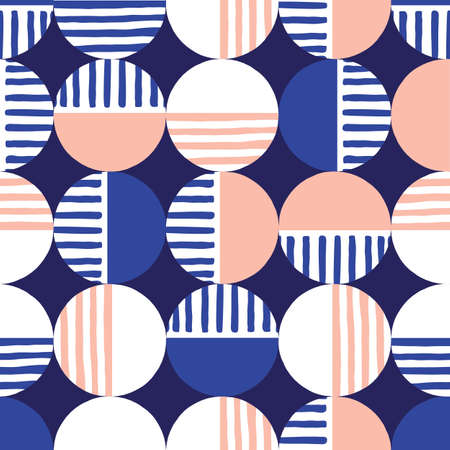 Oversized Retro Geo Dots Vector Seamless Pattern. Modern Abstract Blue and Pink Circles Background Illustration