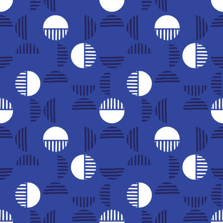 Small Retro Dark Blue Geo Dots And Half Dots Vector Seamless Pattern. Modern Abstract Circles Background
