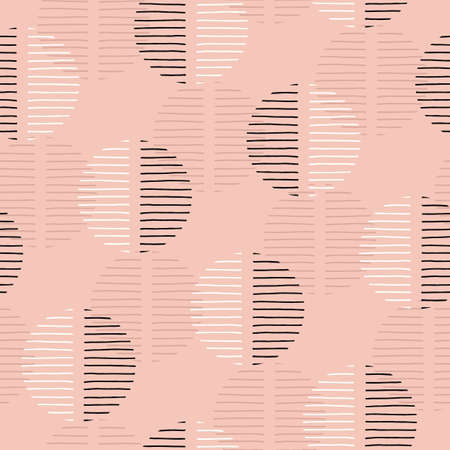 Exaggerated Retro Geo Dots Vector Seamless Pattern. Large Modern Abstract Dusty Pink Circles on Cream Background