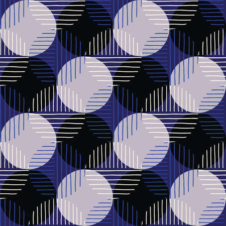 Oversized Retro Geo Dots Vector Seamless Pattern. Modern Abstract Blue and Black Circles Background