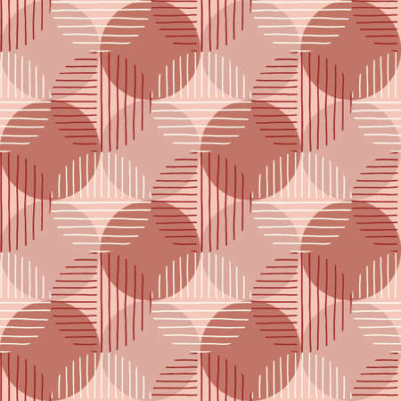 Oversized Retro Geo Dots Vector Seamless Pattern. Modern Abstract Dusty PinkCircles Background Vecteurs