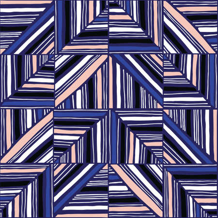 Oversized Retro Geo Hand Drawn Lines Squares Vector Seamless Pattern. Modern Abstract Dark Blue Background Illusztráció