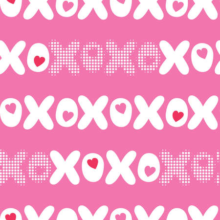 Flat XOXO Valentines Day Typography vector seamless pattern. Stripes Hearts and Words. Love. XOXO. Hugs and Kisses
