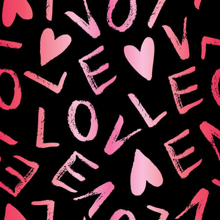 Hand Written Valentines Day Typography vector seamless pattern. Hand Drawn Doodle Hearts and Word Love. Gradient Foto de archivo - 130160710
