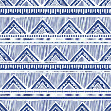 Monochrome Hand Drawn Tribal African Zig Zag and Stripes Vector Seamless Pattern. Stylised Dense Ethnic Geo Texture