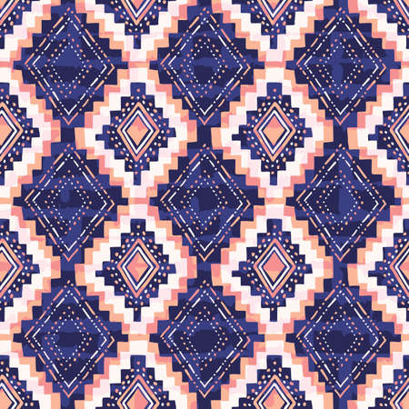 Colorful Hand Drawn Tribal Diamonds and Stripes Vector Seamless Pattern. Textured Ethnic Geo Backrgound 일러스트